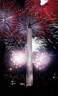 Fourth of July fireworks behind the Washington Monument, 1986