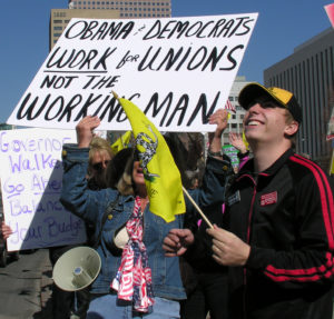 Tea Party Clashes with Unions