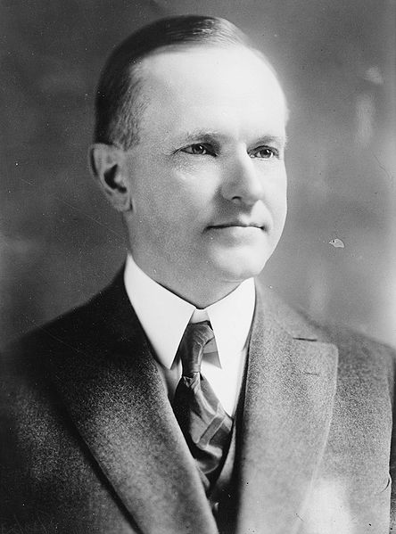 John Calvin Coolidge Bain black and white photo portrait