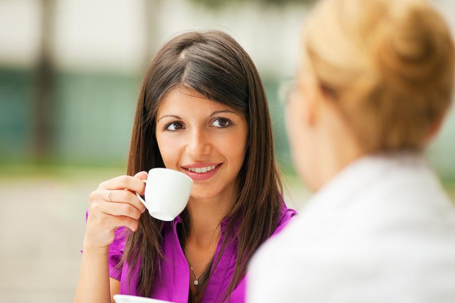 business-women drinking coffee