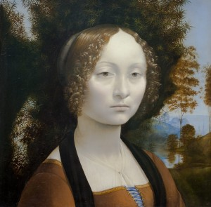 Leonardo da Vinci, Ginevra de' Benci, ca. 1474/1478. Housed at the NGA, this is the only painting by da Vinci in the United States. Although only in his early twenties when he painted Ginevra de' Benci, Leonardo was at his innovative best in this painting, placing the sitter in an outdoor setting, positioning the body in a three-quarter pose, and using a new medium—oil painting. Photo credit: Lee Sandstead.