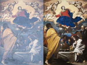 Massimo Stanzione, The Assumption of the Virgin, ca. 1630–1635. These photos show the difference between viewing paintings in the North Carolina Museum of Art during the day (left) and viewing them at night (right). Photo credit: Lee Sandstead.