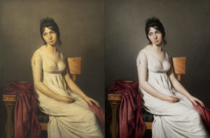 Anonymous artist, circle of Jacques-Louis David, Portrait of a Young Woman in White, ca. 1798. Note the difference between the photo taken in 2005 (left) and the photo of the same painting taken in 2011 after it has been restored. Photo credit: Lee Sandstead.