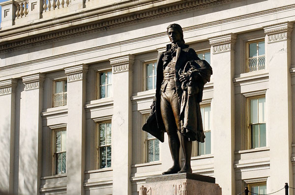 Statute of Hamilton (1757-1804) by James Earle Fraser at U.S. Treasury Building in Washington, D.C. Photo by Karen Nutini. https://commons.wikimedia.org/wiki/File:Statue_of_Alexander_Hamilton.jpg