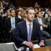 Mark Zuckerberg testifies at a joint hearing of the Senate Judiciary and Commerce committees on Capitol Hill. Credit: Ting Shen/Xinhua/Alamy Live News