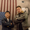Japanese billionaire Yusaku Maezawa and SpaceX CEO Elon Musk strike a pose at SpaceX's headquarters in Hawthorne, Calif. (Yusaku Maezawa via Twitter)